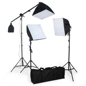 Studioljus set med glödlampa + softbox